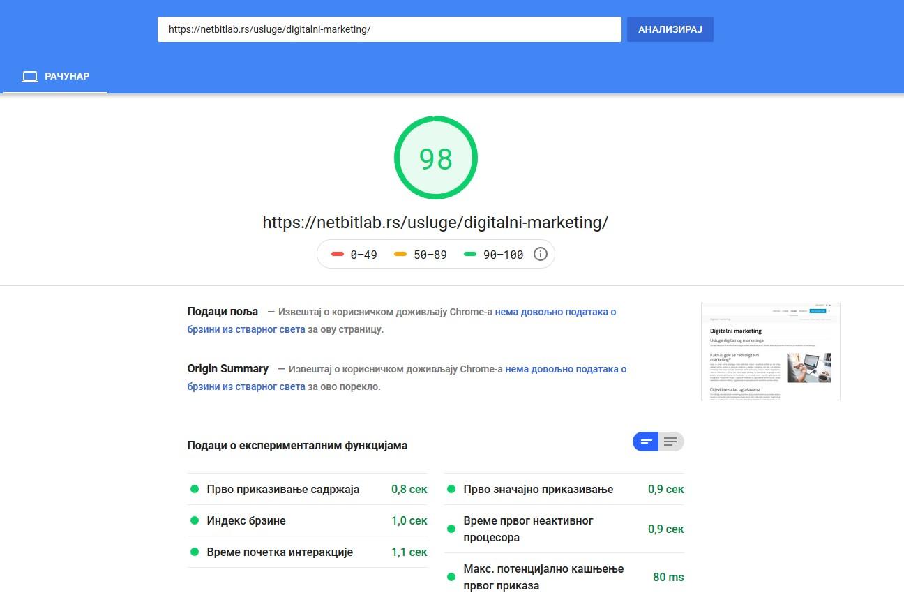 google brzina ucitavanja sajta