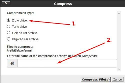 kompresija wordpress sajta u arhivu